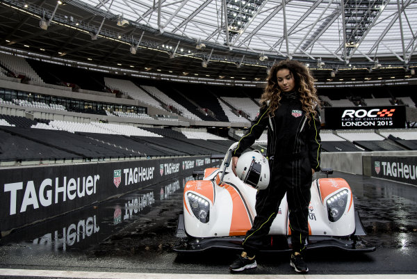 2015 Race Of Champions Olympic Stadium, London, UK MOBO award-winning singer-songwriter Ella Eyre with the Racdical SR3 RSX. Copyright Free FOR EDITORIAL USE ONLY. Mandatory Credit: 'IMP'