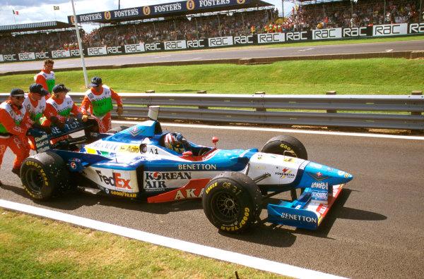 Silverstone, England.11-13 July 1997.Alex Wurz (Benetton B197 Renault) 3rd position.Ref-97 GB 16.World  Copyright - LAT Photographic