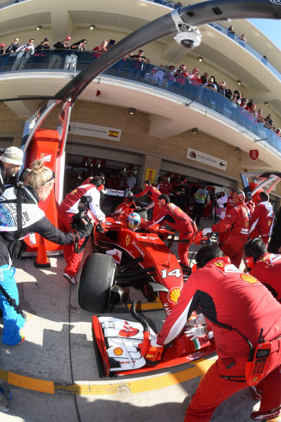 Fernando Alonso (ESP) Ferrari F14 T. Formula One World Championship, Rd17, United States Grand Prix, Qualifying, Austin, Texas, USA, Saturday 1 November 2014.