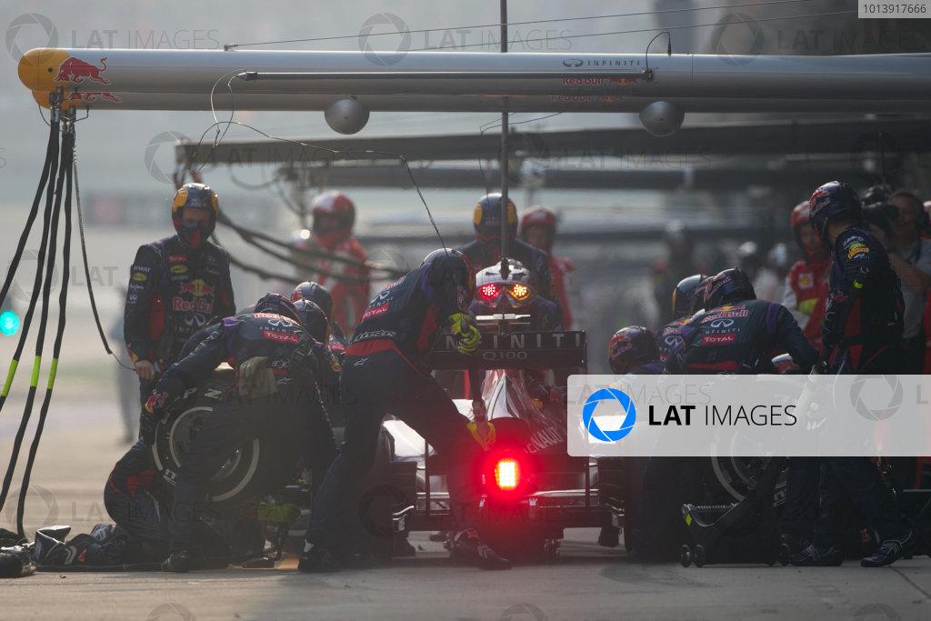Shanghai International Circuit, Shanghai, China Sunday 14th April 2013 Sebastian Vettel, Red Bull RB9 Renault, makes a stop. World Copyright: Andy Hone/LAT Photographic ref: Digital Image HONZ7270