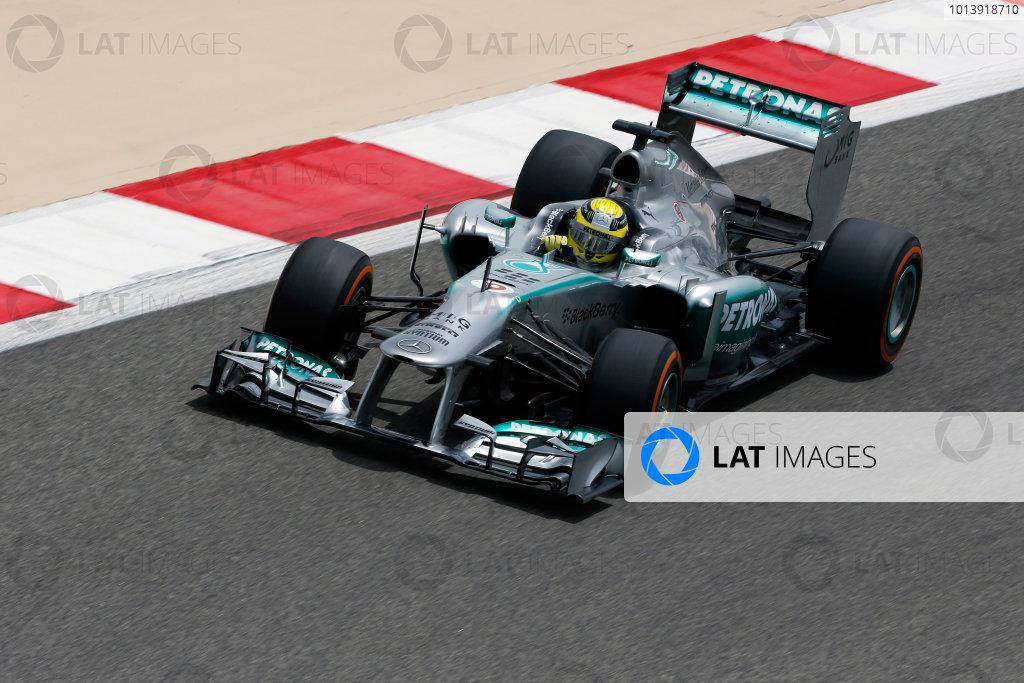 Bahrain International Circuit, Sakhir, Bahrain Friday 19th April 2013 Nico Rosberg, Mercedes W04.  World Copyright: Charles Coates/LAT Photographic ref: Digital Image _N7T0402