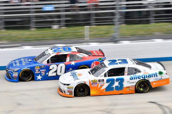 #20: Christopher Bell, Joe Gibbs Racing, Toyota Camry Rheem/Comcast Salute to Service, #23: Johnny Sauter, GMS Racing, Chevrolet Camaro Allegiant Airlines