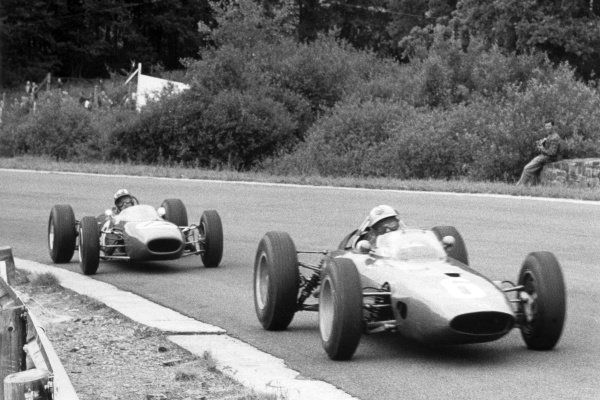 1964 Belgian Grand Prix.Spa-Francorchamps, Belgium. 14 June 1964.Giancarlo Baghetti, BRM P57, 8th position, leads Jo Siffert, Brabham BT11-BRM, retired, action.World Copyright: LAT Photographic