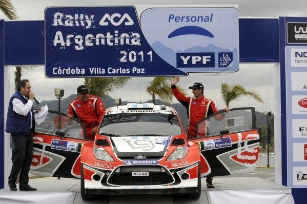 Federico Villagra (ARG), Ford Fiesta RS WRC, on the podium.World Rally Championship, Rd6, Rally Argentina, Villa Carlos Paz, Cordoba, Argentina, Day Three, Sunday 29 May 2011.