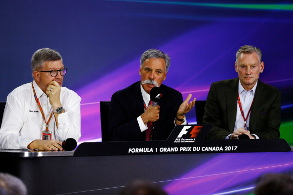 Circuit Gilles Villeneuve, Montreal, Canada. Friday 09 June 2017. Friday press conference: Ross Brawn, Managing Director of Motorsports, FOM, Chase Carey, Chairman, Formula One and Sean Bratches, Managing Director of Commercial Operations, Formula One Group.  World Copyright: Steven Tee/LAT Images ref: Digital Image _R3I0109