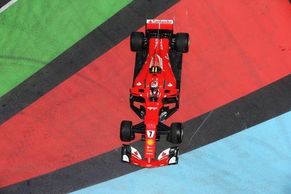 Kimi Raikkonen, Ferrari SF70H, drives onto a run-off area in FP1.