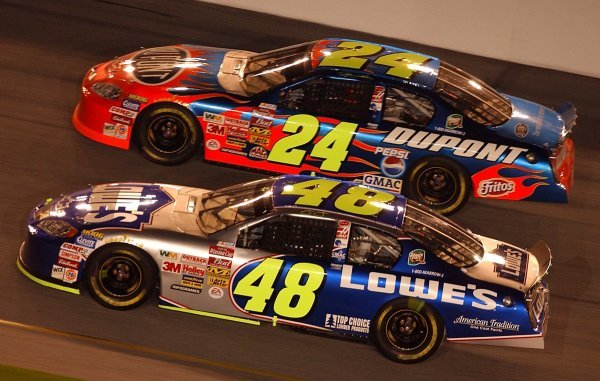 Seventh placed Jimmie Johnson (USA) LoweÕs Chevrolet leads sits underneath his Hendrick Motorsports team mate Jeff Gordon (USA) DuPont Chevrolet who finished second.