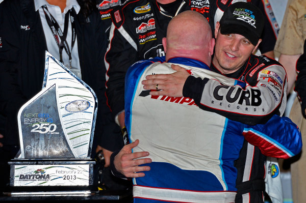 February 21-22, 2013 Daytona Beach, Florida USA Todd Bodine and Johnny Sauter in Victory Lane.(c) 2013, Brian Czobat LAT Photo USA .
