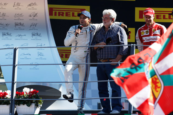 Autodromo Nazionale di Monza, Monza, Italy. Sunday 6 September 2015. George Lucas interviews Felipe Massa, Williams F1, 3rd Position. World Copyright: Jed Leicester/LAT Photographic ref: Digital Image _L1_9562