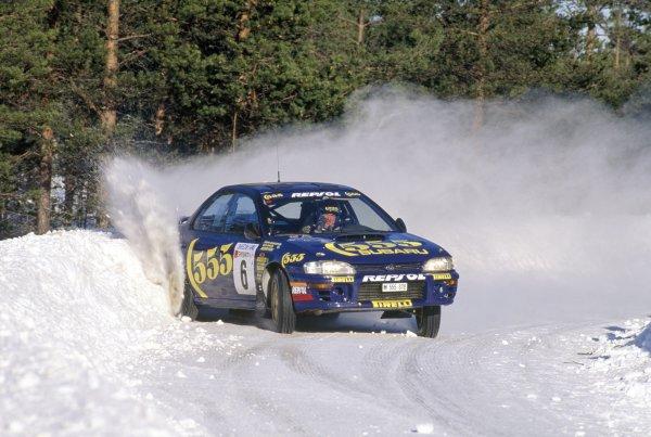 1995 World Rally Championship.Swedish Rally, Sweden. 10-12 February 1995.Mats Jonsson/Johnny Johansson (Subaru Impreza 555), retired.World Copyright: LAT PhotographicRef: 35mm transparency 95RALLY18