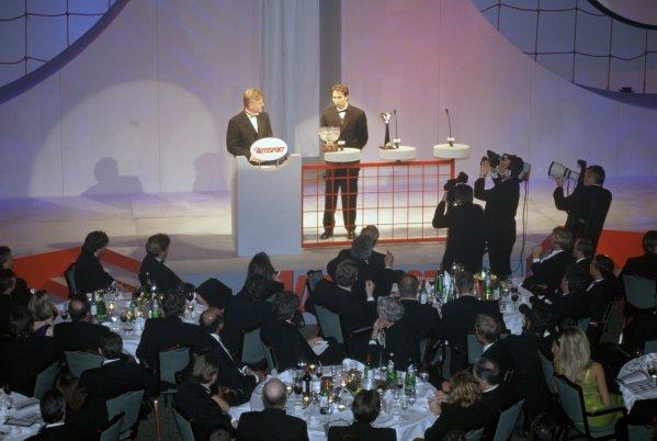 1997 Autosport Awards.Grosvenor House Hotel, Park Lane, London, Great Britain. 7 December 1997.Steve Rider interviews Heinz-Harald Frentzen.World Copyright: Dixon/LAT PhotographicRef: 35mm transparency
