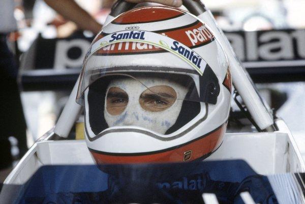 1982 Brazilian Grand Prix.Rio de Janeiro, Brazil. 19-21 March 1982.Nelson Piquet (Brabham BT49D-Ford Cosworth), disqualified. Portrait, helmet.World Copyright: LAT PhotographicRef: 35mm transparency 82BRA28