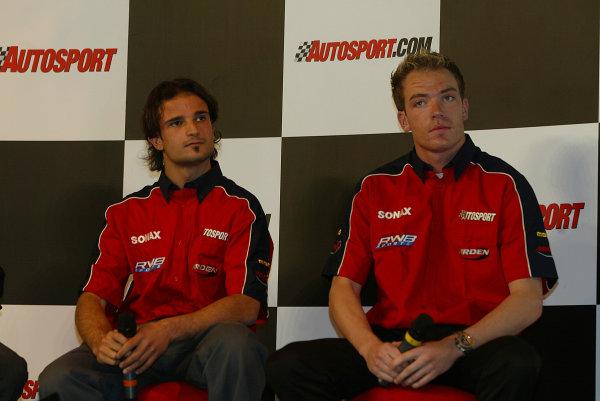 2004 Autosport International.Vitantonio Liuzzi and Robert Doornbos.NEC, Birmingham, England.8-11th January 2004.World Copyright: Spinney/LAT Photographic.Ref.:Digital Image Only.