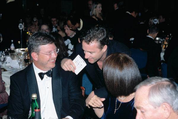 2003 Autosport AwardsGrosvenor Hotel, London, EnglandRoss and Jean Brawn talk with Eddie Irvine.World Copyright: Gold/LATref: 35mm Transparency (30mb scan)