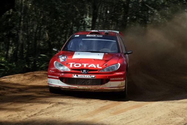2003 FIA World Rally Champs. Round Ten Telstra Rally Australia 4th-7th September 2003.Harri Rovanpera, Peugeot, Action. World Copyright: McKlein/LAT