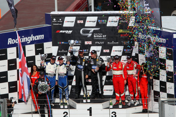 2014 Avon Tyres British GT Championship, Rockingham Motor Speedway, Northamptonshire. 4th - 5th May 2014.  GT3 Podium (l-r) Derek Johnston 888 BMW Z4 GT3, Marco Attard / Alexander Sims Ecurie Ecosse BMW Z4, Gary Eastwood / Rob Barff FF Corse Ferrari 430, Pasin Lathouras / Richard Lyons AF Corse Ferrari 458 Italia. World Copyright: Ebrey / LAT Photographic.