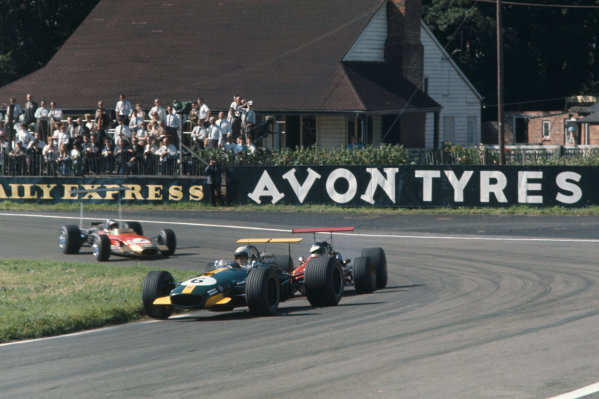 1968 International Gold Cup.  Oulton Park, England. 17th August 1968.  Jack Brabham, Brabham BT26 Repco, leads Jacky Ickx, Ferrari 312, and Jackie Oliver, Lotus 49B Ford.  Ref: 68GC13. World Copyright: LAT Photographic