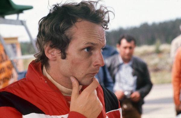 Anderstorp, Sweden. 11th - 13th June 1976. Niki Lauda (Ferrari 312T2), portrait.  World Copyright: LAT Photographic.  Ref: 76 SWE 18.