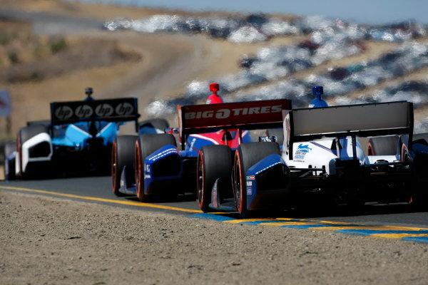 24-26 August, 2012, Sonoma, California, USASimon Pagenaud leads Graham Rahal and Marco Andretti.(c)2012, Phillip AbbottLAT Photo USA