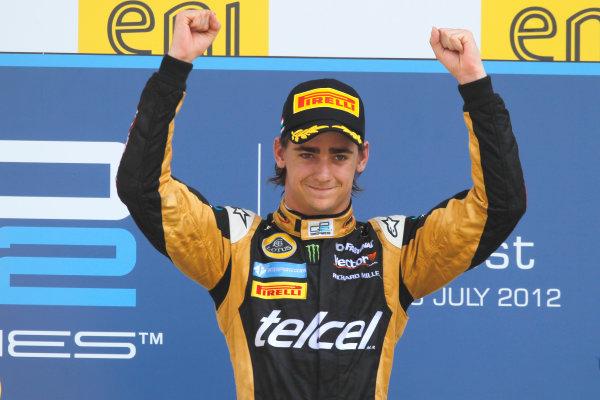 Hungaroring, Budapest, Hungary. 29th July 2012.Sunday Race.Esteban Gutierrez (MEX, Lotus GP) celebrates his victory on the podium. World Copyright: Andrew Ferraro/GP2 Media Serviceref: Digital Image _Q0C5840.jpg