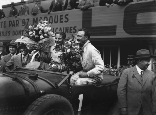 "Le Mans, France. 15th - 16th June 1929.Woolf Barnato/Henry ""Tim"" Birkin (Bentley Speed Six), 1st position, podium portrait. Ref: B2073.World Copyright: LAT Photographic."