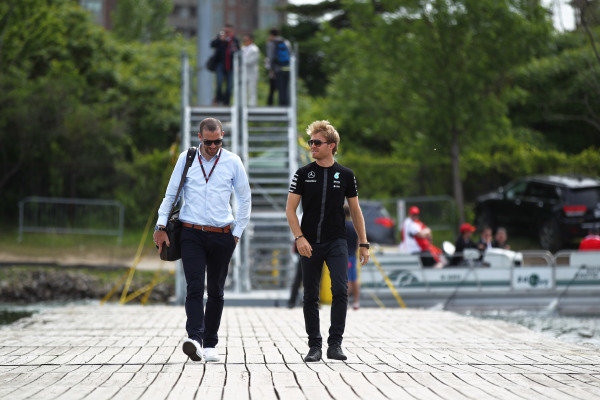 Nico Rosberg (GER) Mercedes AMG F1 with his manager Georg Nolte (GER) at Formula One World Championship, Rd7, Canadian Grand Prix, Race, Montreal, Canada, Sunday 7 June 2015.