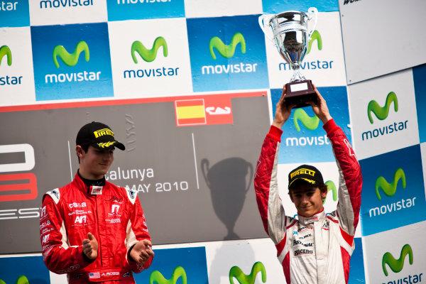 Circuit de Catalunya, Spain. 9th May 2010. Sunday Race. Alexander Rossi (USA, ART Grand Prix) celebrates victory on the podium with Esteban Gutierrez, (MEX, ART Grand Prix). Portrait. Photo: Drew Gibson/GP3 Media Service. Digital Image _Y9E0250