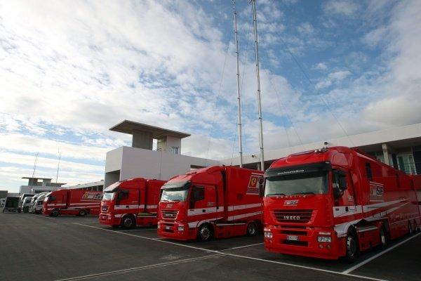 Ferrari trucks in the paddock. Formula One Testing, Day Three, Algarve Motor Park, Portimao, Portugal, 17 December 2008.