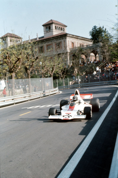 Montjuich Park, Barcelona, Spain.27-29 April 1973.Graham Hill (Embassy Racing/Shadow DN1A-Ford).Ref-35mm 73 ESP 45.World Copyright - LAT Photographic