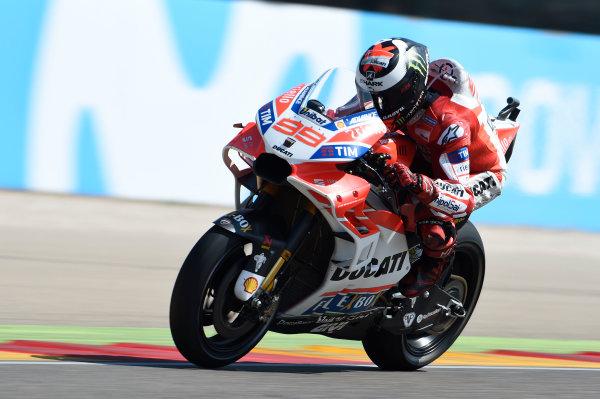 2017 MotoGP Championship - Round 14 Aragon, Spain. Saturday 23 September 2017 Jorge Lorenzo, Ducati Team World Copyright: Gold and Goose / LAT Images ref: Digital Image 13710