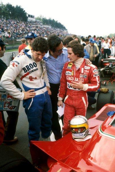 (L to R): Race winner Jody Scheckter (RSA) Ferrari talks with Mauro Forghieri (ITA) Ferrari Designer and seventh placed team mate Gilles Villeneuve (CDN) on the grid before the start of the race. Belgian Grand Prix, Rd 6, Zolder, Belgium, 13 May 1979. BEST IMAGE