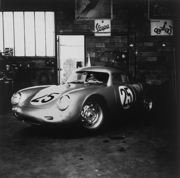Le Mans, France. 28th - 29th July 1956.Richard von Frankenberg/Wolfgang von Trips (Porsche 550A RS Coupe), 5th position, in the garage, action. World Copyright: LAT Photographic.Ref: 788.