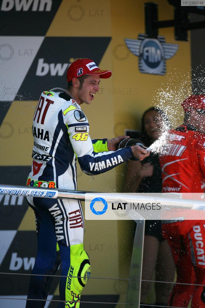 Jerez,Spain.1st - 3rd May 2009.Valentino Rossi Fiat Yamaha Team celebrates his win with the champagneWorld Copyright: Martin Heath/LAT Photographic.ref: BPI_Moto 80sh