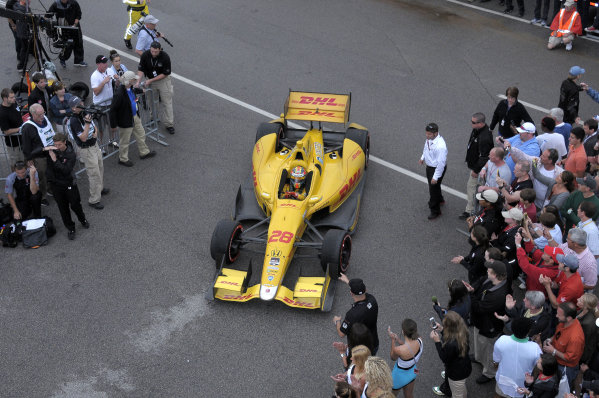 25-27 April, 2014, Birmingham, Alabama USA Race winner Ryan Hunter-Reay enters Victory Lane. ©2014, Paul Webb LAT Photo USA