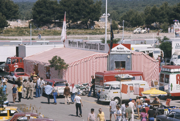 1973 French Grand Prix.  Paul Ricard, Le Castellet, France. 29th June - 1st July 1973.  Malboro hospitality tent in the paddock.  Ref: 73FRA65. World Copyright: LAT Photographic