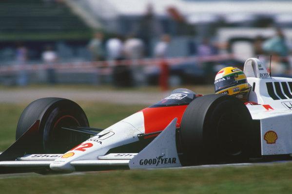 Hockenheim, Germany. 22nd - 24th July 1988. Ayrton Senna (McLaren MP4/4-Honda), 1st position, action. World Copyright: LAT Photographic. Ref: CC