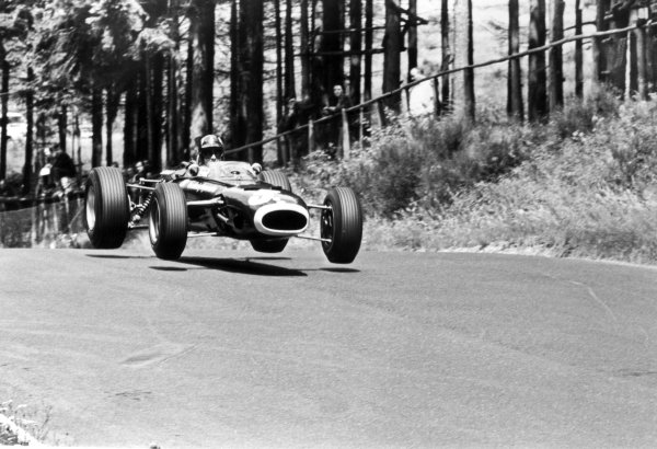 1966 German Grand Prix.Nurburgring, Germany. 7 August 1966.Graham Hill, BRM P261, 4th position, action, jump.World Copyright: LAT PhotographicRef: L66/530/22A