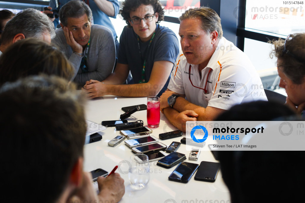 Zak Brown, CEO, McLaren Racing, holds a Press Conference.