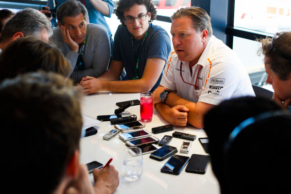 Zak Brown, Executive Director, McLaren Technology Group, holds a Press Conference.