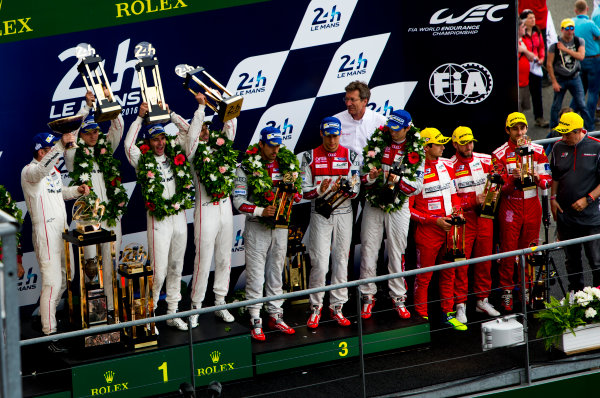 2016 Le Mans 24 Hours. Circuit de la Sarthe, Le Mans, France. Sunday 19 June 2016. Porsche Team / Porsche 919 Hybrid - Romain Dumas (FRA), Neel Jani (CHE), Marc Lieb (DEU), Toyota Gazoo Racing / Toyota TS050 - Hybrid - Stephane Sarrazin (FRA), Michael Conway (GBR), Kamui Kobayashi (JPN), Audi Sport Team Joest / Audi R18 - Lucas Di Grassi (BRA), Loic Duval (FRA), Oliver Jarvis (GBR), Rebellion Racing / Rebellion R-One-AER - Nicolas Prost (FRA), Nick Heidfeld (DEU), Nelson Piquet (NLD).  World Copyright: Zak Mauger/LAT Photographic ref: Digital Image _79P9207