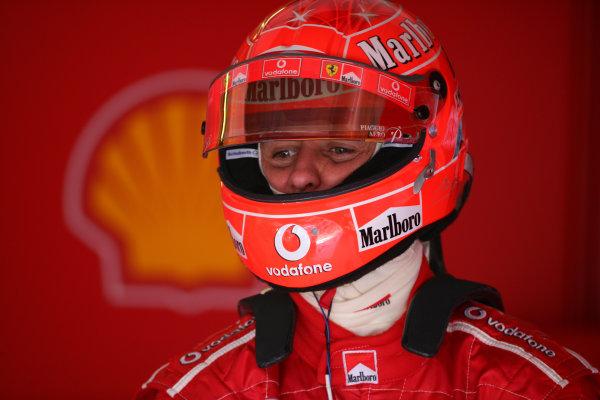 2005 San Marino Grand Prix - Friday Practice, Imola, Italy. 22nd April 2005 Michael Schumacher, Ferrari F2005, in / helmet / portrait.World Copyright: Steve Etherington/LAT Photographic ref: 48mb Hi Res Digital Image Only