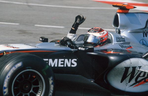 2005 Monaco Grand PrixMonte Carlo, Monaco. 19th - 22nd May Kimi Raikkonen, McLaren Mercedes MP4-20 celebrates winning the Monaco Grand Prix. World Copyright: Charles Coates/LAT Photographic ref: 35mm Image 05Monaco04