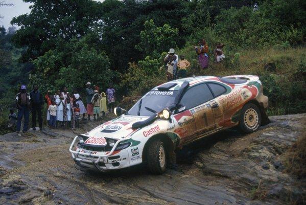 1993 World Rally Championship.Safari Rally, Kenya. 8-12 April 1993.Juha Kankkunen/Juha Piironen (Toyota Celica Turbo 4WD), 1st position.World Copyright: LAT PhotographicRef: 35mm transparency 93RALLY04