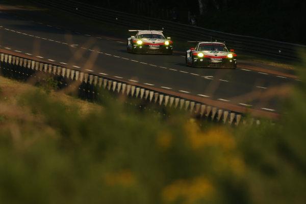 2017 Le Mans 24 Hours Circuit de la Sarthe, Le Mans, France. Sunday 18th  June 2017 #91 Porsche GT Team Porsche 911 RSR: Richard Lietz, Frederic Makowiecki, Patrick Pilet  World Copyright: JEP/LAT Images
