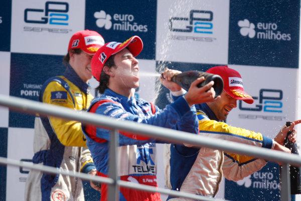 Sunday Race.Luca Filippi (ITA, Super Nova Racing) celebrates his victory on the podium with Sergio Perez (MEX, Telmex Arden International) and Javier Villa (ESP, Super Nova Racing). World Copyright: Alastair Staley / GP2 Series Media Service.Ref: _O9T3914 jpg