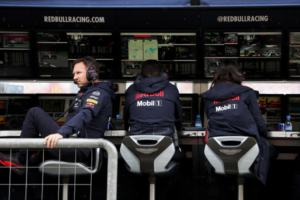 Christian Horner, Team Principal, Red Bull Racing, on the pit wall