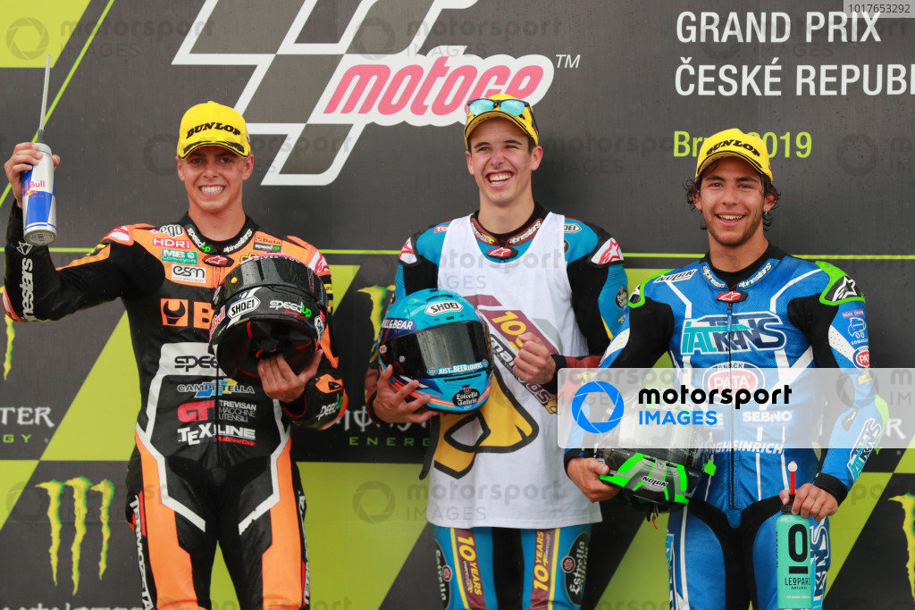 Podium: race winner Alex Marquez, Marc VDS Racing, second place Fabio Di Giannantonio, Speed Up Racing, third place Enea Bastianini, Italtrans Racing Team