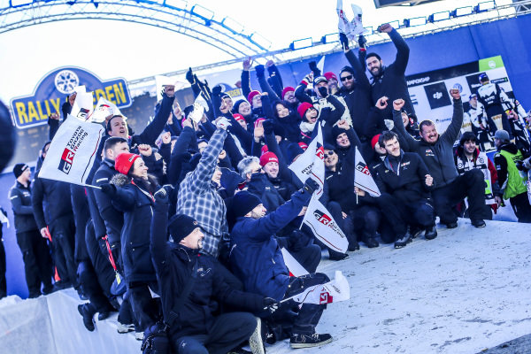 Rally winners Jari-Matti Latvala (FIN) / Miikka Anttila (FIN), Toyota Gazoo Racing WRC and the team celebrate on the podium at World Rally Championship, Rd2, Rally Sweden, Day Three, Karlstad, Sweden, 12 February 2017.