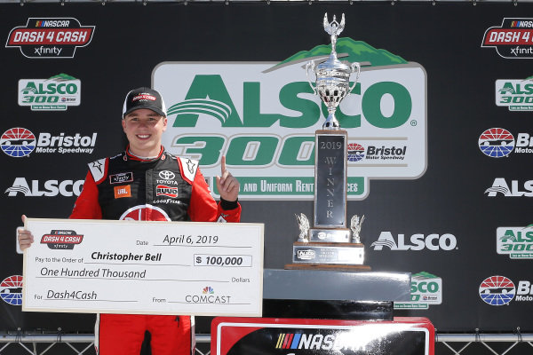 #20: Christopher Bell, Joe Gibbs Racing, Toyota Supra Rheem celebrates in victory lane