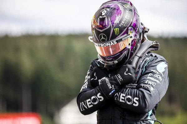 Pole Sitter Lewis Hamilton, Mercedes-AMG Petronas F1 celebtrates in Parc Ferme